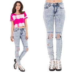 #Grunge it up with our 90's-look #skinnyjeans, just £4.99 x http://hiddenfashion.com/new-in/new-in-clothing/mid-rise-acid-wash-distressed-ripped-lace-knee-skinny-jeans.html #90s #vintage #look #throwback #tbt #throwbackthursday #summer #ss14 #jeans #musthave #newarrival #new #ootd #style #fashion #trend #hiddenfashion