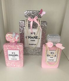 These wooden cut outs are from an AMAZING seller on Etsy (link below). I cannot say enough how fantastic Simon is to deal with! Chanel Room, Chanel Decor, Chanel Perfume, Chanel Chanel, Paris Theme Decor, Liquor Bottle Crafts, Cute Acrylic Nail Designs, Chanel Party, Disney Inspired Wedding
