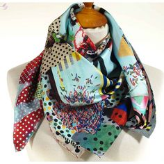 Christian Lacroix Carré en soie Love who you want bleu ciel n°2 Foulards, e01d3dadcf4