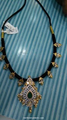 Gold Black Thread Emerald Necklace
