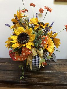 Tin Watering Pail with Sunflower Floral Arrangement, Sunflower Arrangement in Metal Tin with Decorat Sunflower Floral Arrangements, Sunflower Centerpieces, Silk Arrangements, Wedding Arrangements, Floral Bouquets, Altar Decorations, Centerpiece Ideas, Thanksgiving Centerpieces, Fall Wreaths