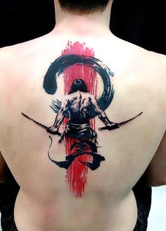 Great tattoo of samurai on the man's back. Style: Trash Polka. Color: Black. Tags: Creative, Great