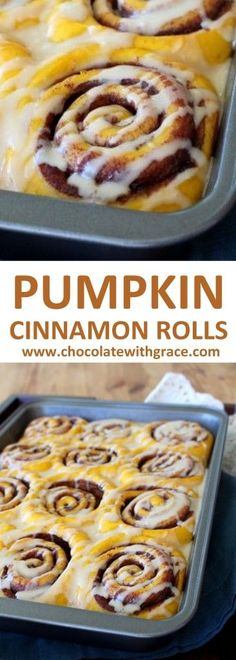 Soft Pumpkin cinnamon rolls with cream cheese frosting. A perfect Thanksgiving or Christmas Breakfast recipe.