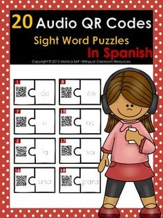 Audio+QR+Codes+Puzzles+in+Spanish+are+a+fun+way+to+practice+sight+words+in+Spanish!Your+students+will+scan+each+puzzle+piece.+Each+QR+code+links+to+an+audio+file+that+says+the+sight+word.+Your+student+will+match+the+sound+with+the+written+word+(traceable).