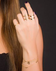 Cross Ring Gold Double Ring Statement Ring Minimalist Ring