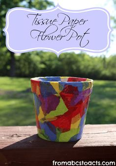 Springtime Crafts for Kids - Tissue Paper Flower Pot. Simple and fun, perfect Mother's Day craft! Craft Activities, Preschool Crafts, Fun Crafts, Summer Activities, Kindergarten Crafts, Easter Crafts, Mother's Day Projects, Projects For Kids, Flower Pot Crafts