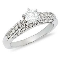 3/5 CT. Diamond Engagement Ring in 14K White Gold