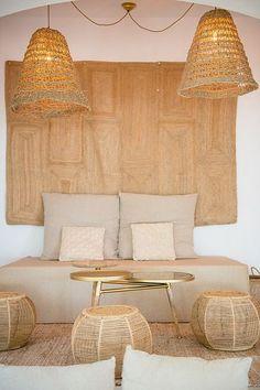 beach restaurant Aiyanna Ibiza - Ibiza hip beach r - Ibiza Style Interior, Cafe Interior, Bamboo Pendant Light, Deco Studio, Ibiza Beach, Ibiza Fashion, Decoration Inspiration, Rustic Bathrooms, Tiny Spaces