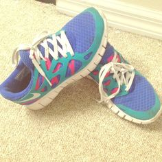Nike Running Free Sneaker size 5 Custom made Nike Free size 3.5Youth , fits a true women's 5 . Great pre owned condition Nike Shoes Sneakers