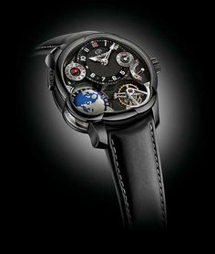 The case of the #greubelforsey GMT Black  is made of titanium and treated with vacuum-deposited ADLC (amorphous diamond-like carbon), which gives the timepiece not only its sleek, deep black look but also a surface hardness substantially harder than that of natural titanium. #watchtime #horology #watchgeek