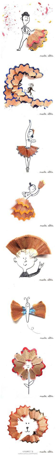 a series of super cute colour pencil shavings illustration by Marta Altés!