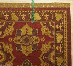 POTTERY BARN star KILIM wool and cotton rich warm colored rug 5 x 8 New