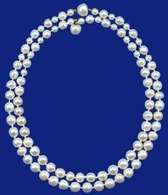 The 'Queen Anne' and 'Queen Caroline' pearl necklaces  These necklaces, of forty-six (Queen Anne) and fifty (Queen Caroline) pearls, weighing 1,045gr. and 1,429.20gr. respectively, are always worn together and were given by the King and Queen to Princess Elizabeth as a wedding present