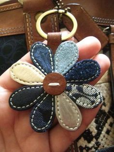 your COACH Key Fobs here! No instructions here. But cool idea for denim, leather and tapestry scrapsNo instructions here. But cool idea for denim, leather and tapestry scraps Jean Crafts, Denim Crafts, Leather Jewelry, Leather Craft, Sewing Crafts, Sewing Projects, Denim Ideas, Recycled Denim, Denim Bag