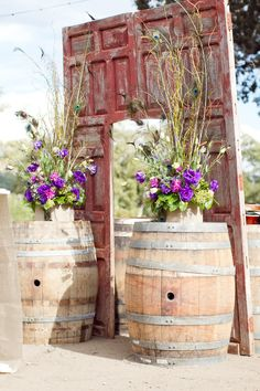 wine barrels and an old chippy paint door altar