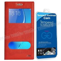 Samsung Galaxy A5 2016 Yeni Pencereli Kılıf Kırmızı + Kırılmaz Cam -  - Price : TL32.90. Buy now at http://www.teleplus.com.tr/index.php/samsung-galaxy-a5-2016-yeni-pencereli-kilif-kirmizi-kirilmaz-cam.html