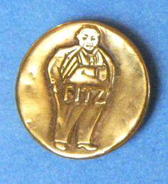 Bb  FITZ (Fat Man) Antique Brass OVERALL BUTTON Wobble shank