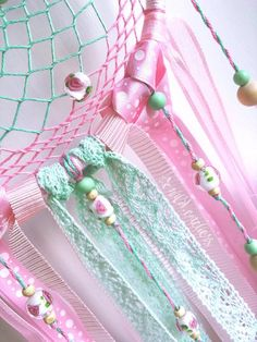 Hoop diameter 15 cm Length without loop 45 cm Charming dreamcatcher in vintage style. Delicate combination of mint and pink. Perfectly is suitable for decoration of a bedroom, a nursery or an interior in light colors. The dream catcher is unique and created with love, friendly feelings and great Dream Catcher Bedroom, Lace Dream Catchers, Dream Catcher Craft, Vinyl Crafts, Diy And Crafts, Arts And Crafts, Style Vintage, Vintage Fashion, Rag Garland