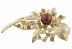 Ladies Gold with Gold Iced Out Flower & Ribbon with Center Bead Brooch & Pin Pendant JOTW. $0.01. 100% Satisfaction Guaranteed!. Great Quality Jewelry!. The measure of this brooch and pin is 2 inches from left to right and 1.75 inches from top to bottom.