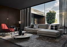 Contemporary sofa / fabric / by Rodolfo Dordoni / brown - POWELL - Minotti Living Room Modern, Living Room Interior, Home And Living, Living Room Designs, Living Room Decor, Living Spaces, Dining Room, Flur Design, Hall Design