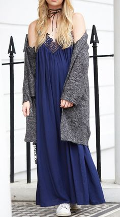 Slip lace dress & cardigan.