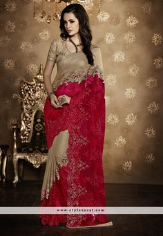 Designer Hot Pink Color Net Bridal Wear Saree-SC 36
