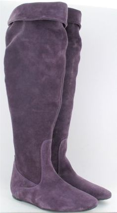 Ladies Duo Long Length Suede Leather Boots Venice Purple Size UK3 Calf 38cm ~ LOVELY, but way too tiny