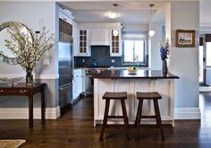 Kitchen White Cabinet Blue Walls