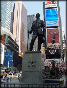 This statue of George M. Cohan (1878-1942) stands in Duffy Square, dedicated in 1959