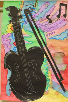 Kandinsky abstract music paintings + instrument.