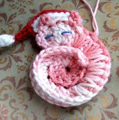 Animal Crochet PATTERN - Darling Kitty - CROCHET PATTERN for Tiny Cat Ornament or Applique with Santa Hat - Instant Download