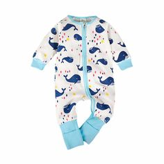 Baby/Toddler's Cotton Zip-Up Long-Sleeve Whale Jumpsuit