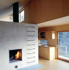 Modern cottage w/ ladder and fireplace
