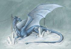 fantasy winter dragon, wiiolis, fantasy