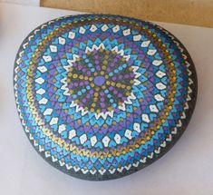 "Just painted, but not yet finished. A large ""Amplification Stone"" has had its design painted, and now awaits the final glossy protective coat which will not only preserve the design, but will also deepen colors and definition. Sacred Geometry, Alchemy, Preserve, Beautiful Words, Stones, Hand Painted, Colors, Coat, Painting"