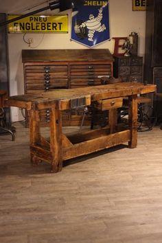 Steel Workbench, Industrial Workbench, Industrial Bookshelf, Woodworking Workbench, Woodworking Projects, Welding Projects, French Industrial Decor, Wood Router, Wood Lathe