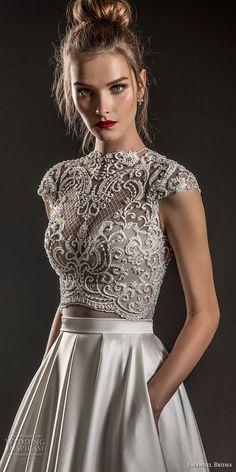 emanuel brides 2018 bridal cap sleeves jewel neckline heavily embellised bodice crop top satin skirt glamorous a  line wedding dress covered lace back sweep train (05) zv