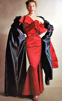 Jacques Fath Vogue, September 1950 designer couture vintage fashion style red wiggle sheath dress formal evening gown strapless large bow mermaid skirt black wrap 50s