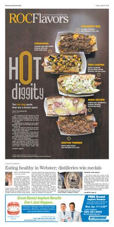 Rochester Democrat and Chronicle Hot Dog Stand, Free Dental, Irish Setter, Corned Beef, Coleslaw, Distillery, Editorial Design, Hot Dogs, Bacon