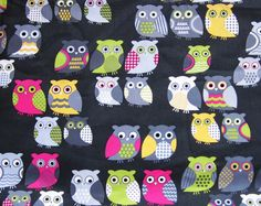 mty018 - 1 Meter SDLP Cotton Fabric - Cute Owls - Gray. $10.00, via Etsy.