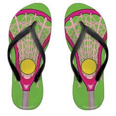 Lacrosse Stick Green/Pink Girls Flip Flops - http://shoes.goshopinterest.com/girls/sandals-girls/lacrosse-stick-greenpink-girls-flip-flops/