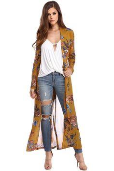Trendy how to wear kimono cardigan outfits ideas Kimono Cardigan Outfit, Gilet Kimono, Floral Kimono Outfit, Long Cardigan, Kimono Diy, Chiffon Kimono, Sheer Chiffon, Boho Outfits, Summer Outfits