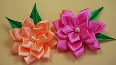 diy flowers made with ribbon - YouTube