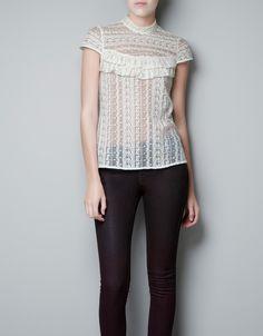 SHEER LACE BLOUSE WITH RUFFLES - Shirts - Woman - ZARA United States