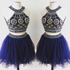short Homecoming dress,royal blue prom Dress,charming Prom Dresses,two pieces prom dress,BD400