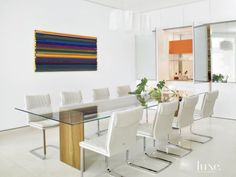 Modern White Dining Room with Bar Area