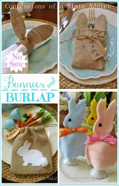 CONFESSIONS OF A PLATE ADDICT 10 easy NO-SEW ideas for adding bunnies and burlap to your spring!
