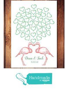 Flamingo Guest Book Alternative - Engagement Party, Wedding Shower, Birthday Guest Book, Hearts for Signatures from Melissa Wynne Designs https://www.amazon.com/dp/B01K4UTFT2/ref=hnd_sw_r_pi_dp_3f7QxbR44ZSW1 #handmadeatamazon