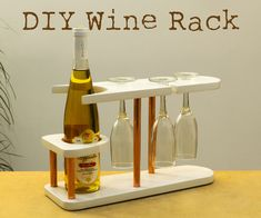 In this Instructable I'm going to show you how I made a wine rack out of pine wood and copper pipe. It can hold 1 bottle and 3 glasses.The design of this wine. Bottle Rack, Bottle Holders, Bottle Opener, Wine In The Woods, Wine Caddy, Wood Wine Racks, Wood Crates, Wood Pallets, Traditional Decor