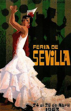 Old poster - Seville 1963 Illustrations Vintage, Illustrations Posters, Art Posters, Old Poster, Spanish Dancer, Tourism Poster, Travel Ads, Vintage Travel Posters, Poster Vintage